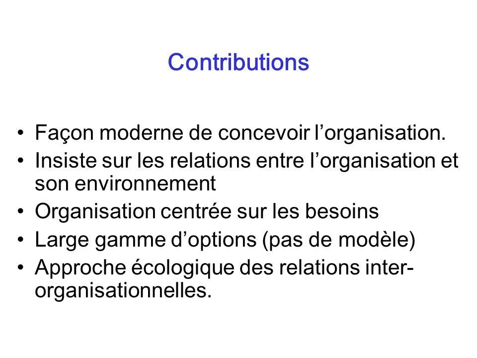 Contributions Façon moderne de concevoir l'organisation.