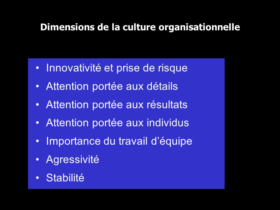 Dimensions de la culture organisationnelle