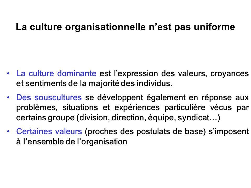 La culture organisationnelle n'est pas uniforme