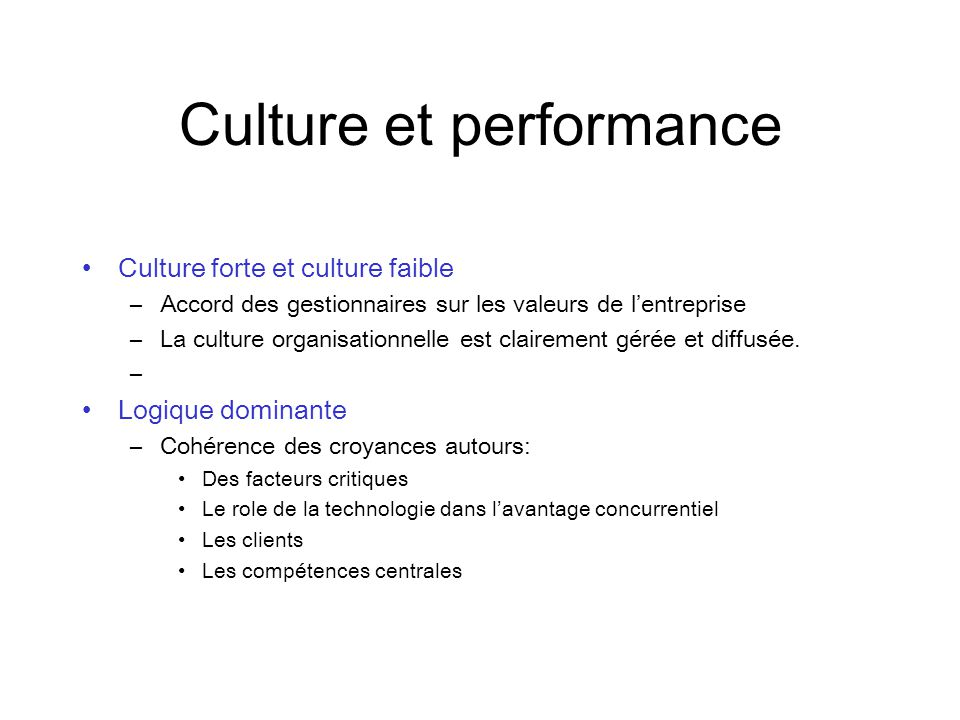 Culture et performance