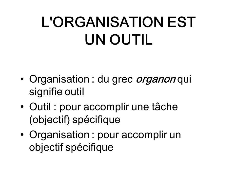 L ORGANISATION EST UN OUTIL