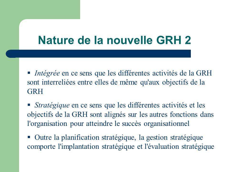 Nature de la nouvelle GRH 2