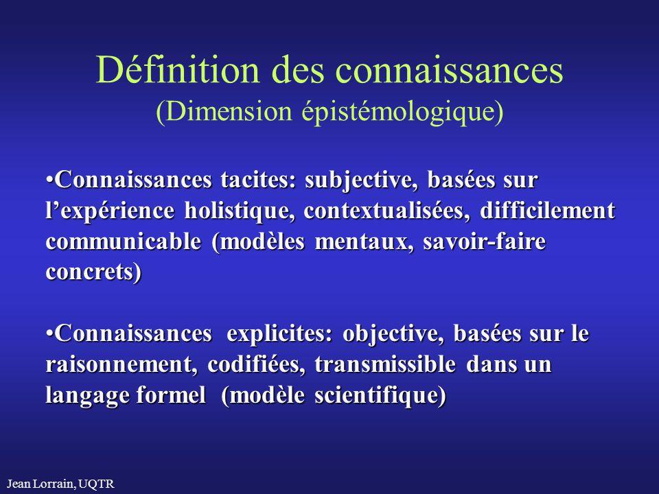 Définition des connaissances (Dimension épistémologique)