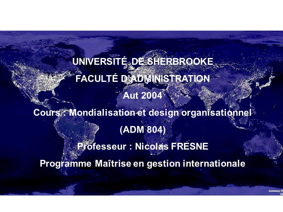 UNIVERSITÉ DE SHERBROOKE FACULTÉ D'ADMINISTRATION Aut 2004