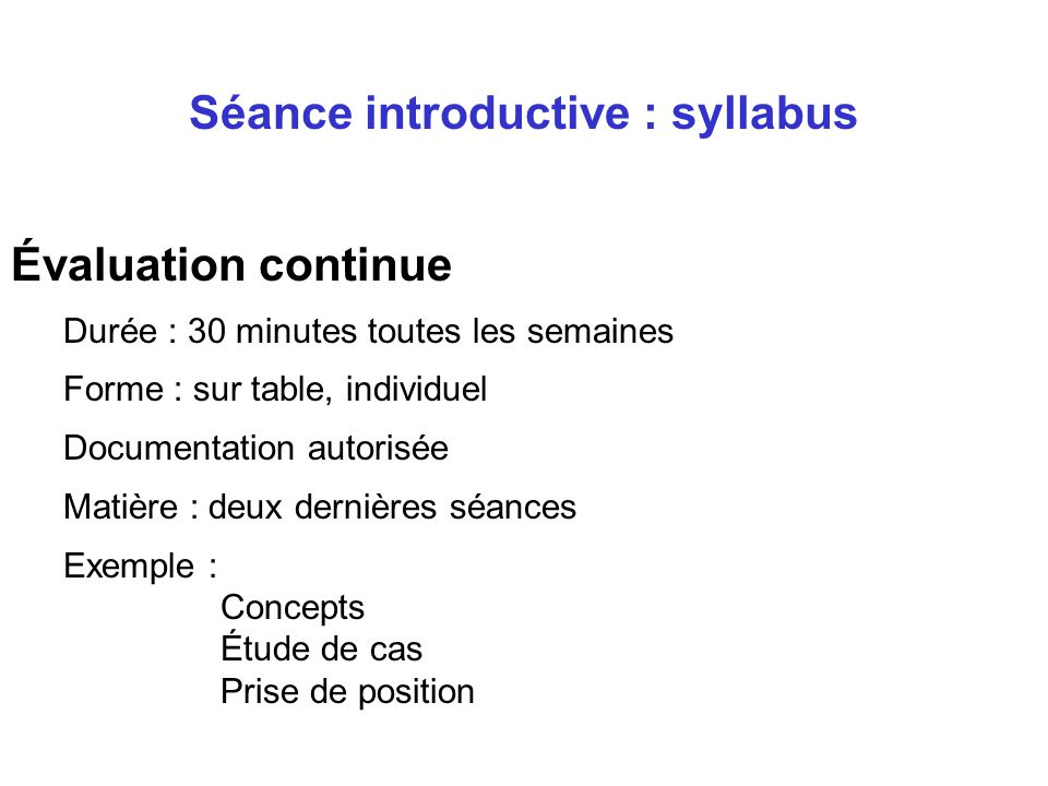 Séance introductive : syllabus