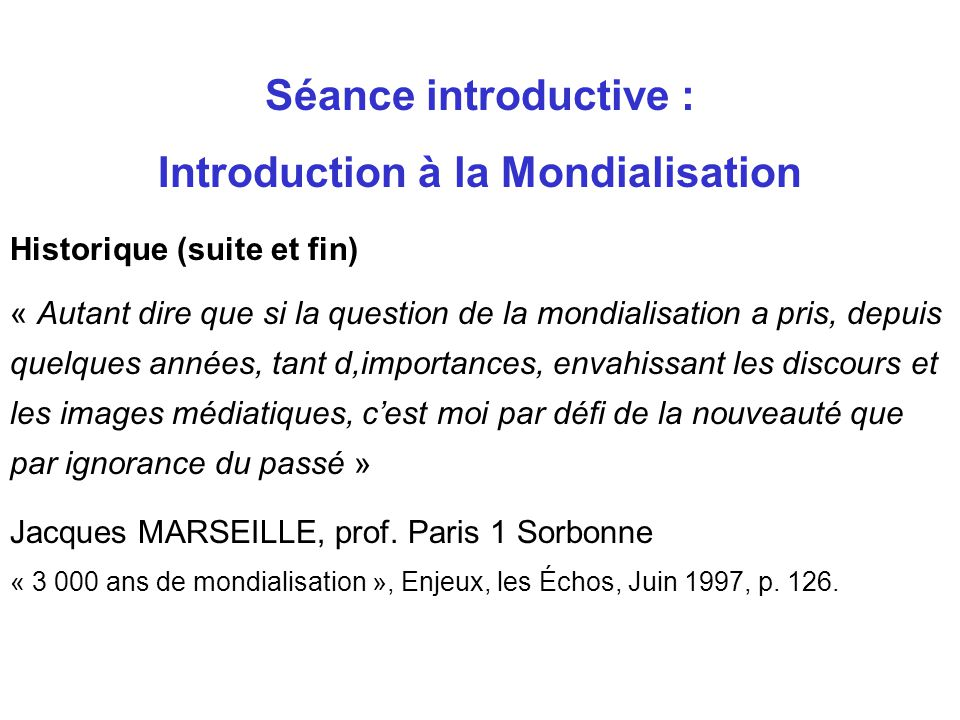 Introduction à la Mondialisation