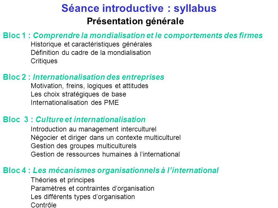 Séance introductive : syllabus Présentation générale