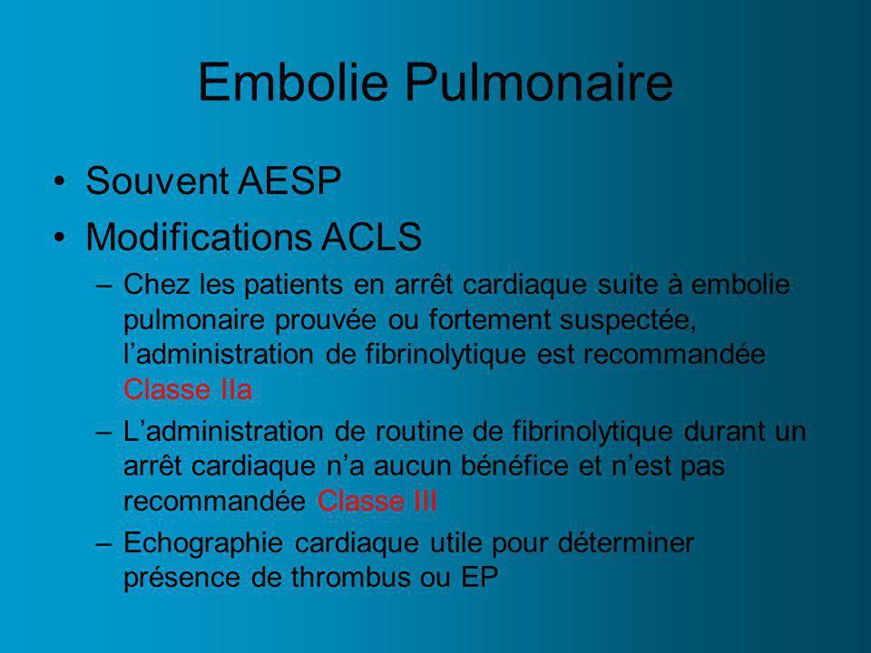 Embolie Pulmonaire Souvent AESP Modifications ACLS