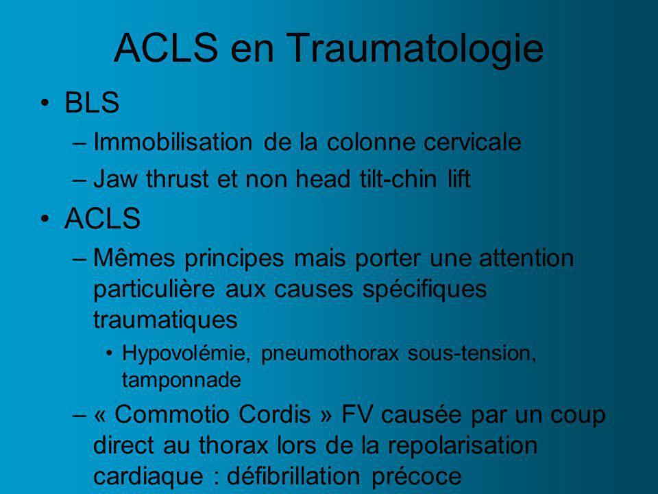 ACLS en Traumatologie BLS ACLS Immobilisation de la colonne cervicale