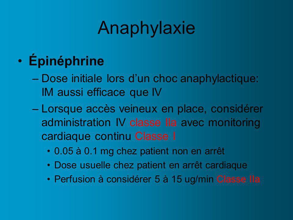 Anaphylaxie Épinéphrine
