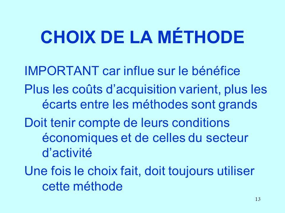 CHOIX DE LA MÉTHODE IMPORTANT car influe sur le bénéfice