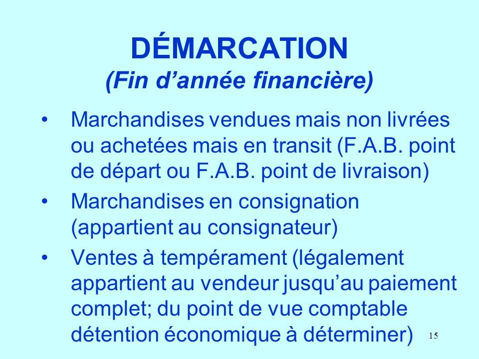 DÉMARCATION (Fin d'année financière)