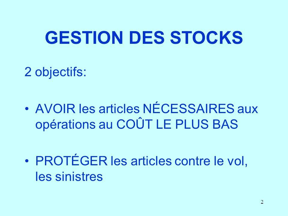 GESTION DES STOCKS 2 objectifs: