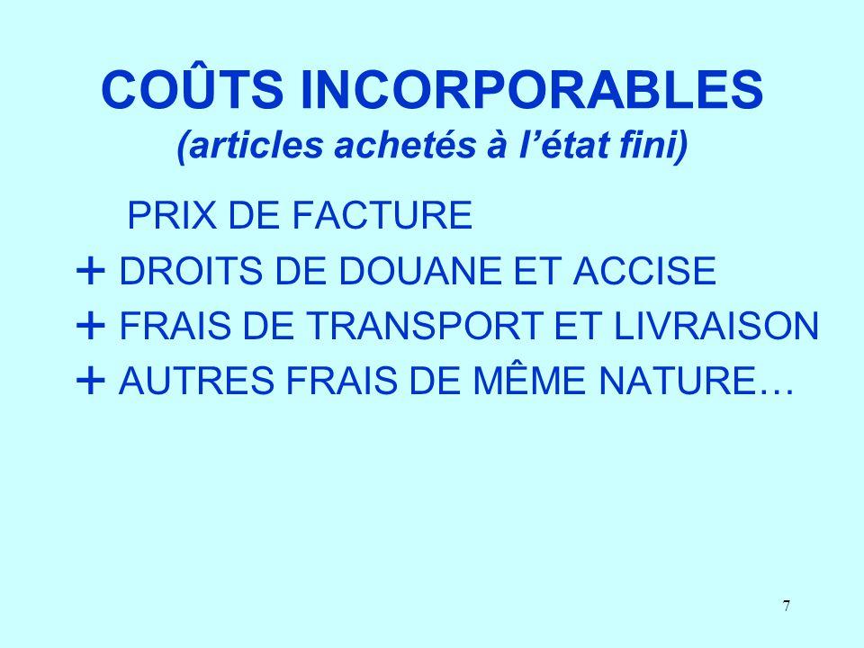 COÛTS INCORPORABLES (articles achetés à l'état fini)