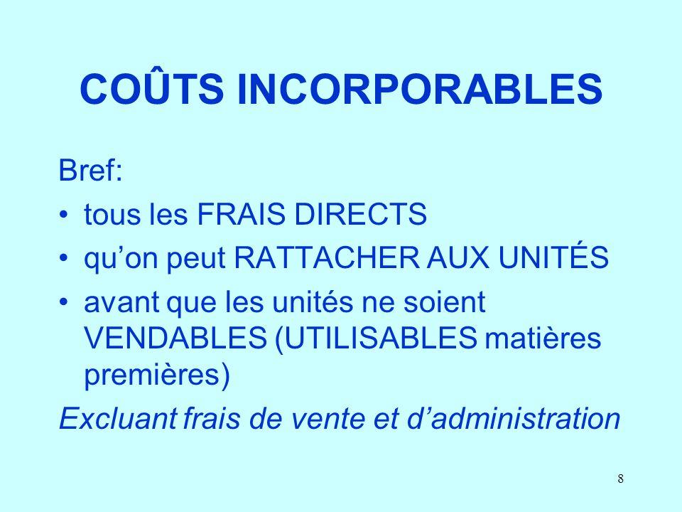 COÛTS INCORPORABLES Bref: tous les FRAIS DIRECTS