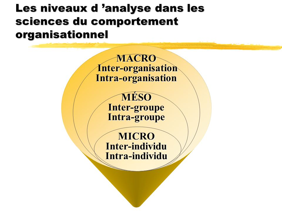 Les niveaux d 'analyse dans les sciences du comportement organisationnel