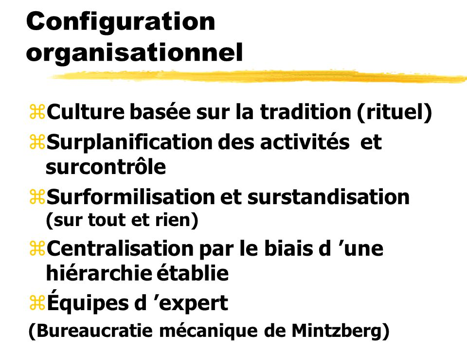 Configuration organisationnel