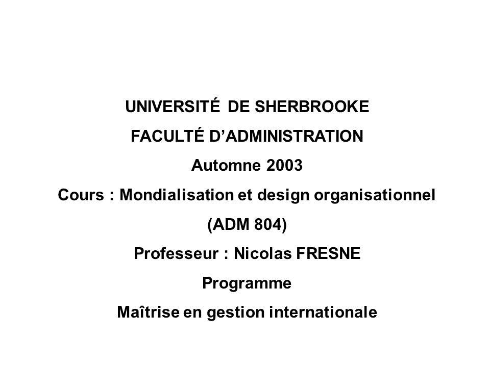 UNIVERSITÉ DE SHERBROOKE FACULTÉ D'ADMINISTRATION Automne 2003
