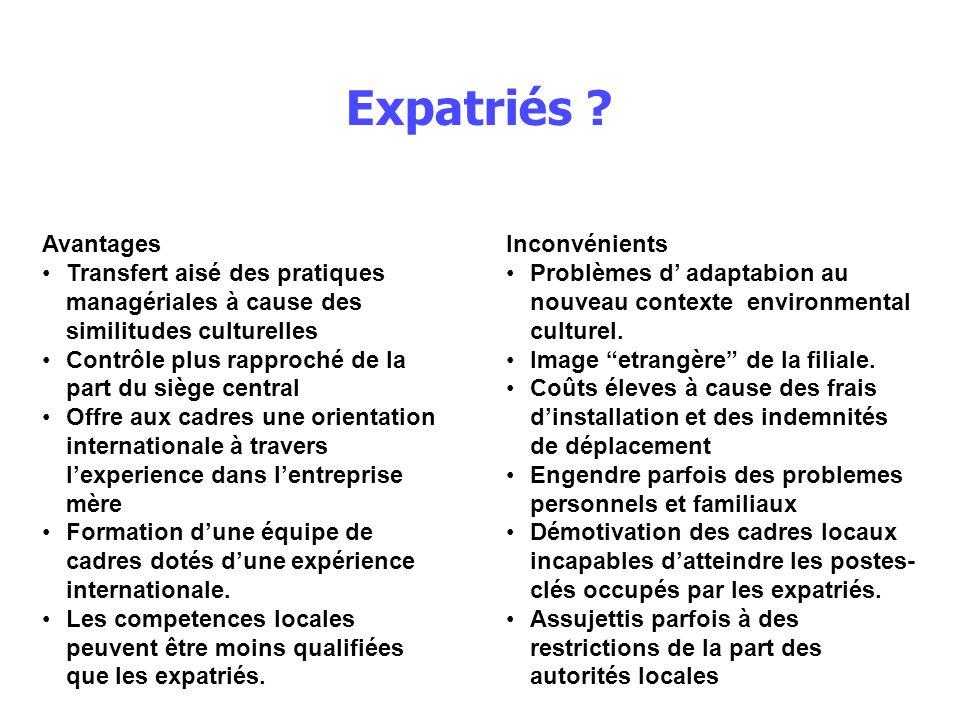 Expatriés Avantages. Transfert aisé des pratiques managériales à cause des similitudes culturelles.