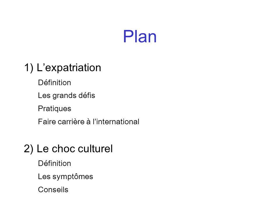 Plan 1) L'expatriation 2) Le choc culturel Définition Les grands défis