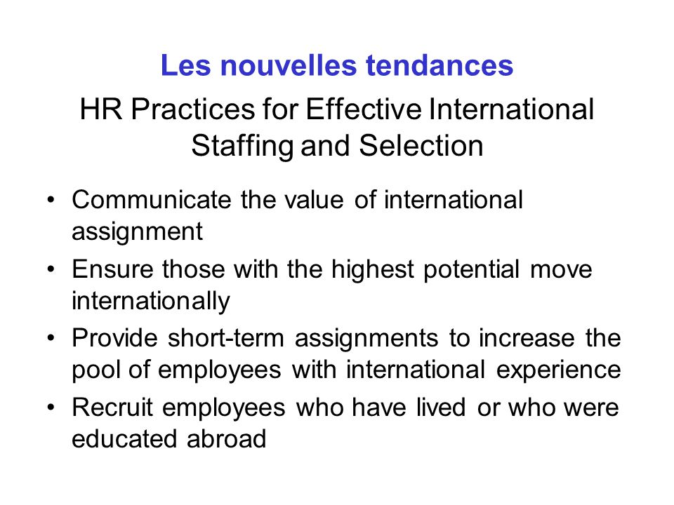 HR Practices for Effective International Staffing and Selection
