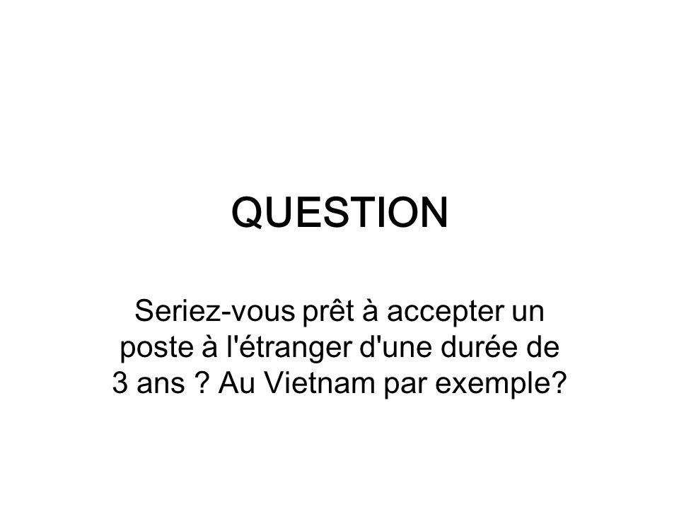 QUESTION Seriez-vous prêt à accepter un poste à l étranger d une durée de 3 ans .