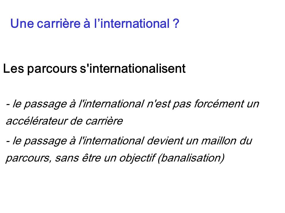 Une carrière à l'international