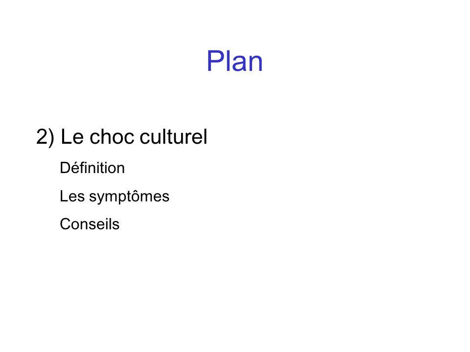 Plan 2) Le choc culturel Définition Les symptômes Conseils