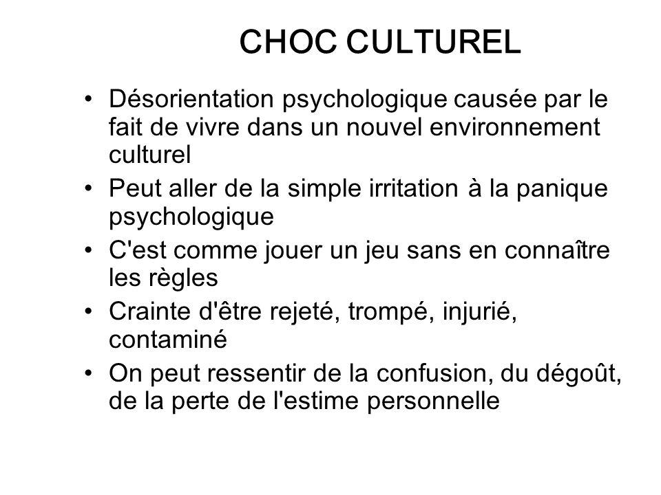 CHOC CULTUREL Désorientation psychologique causée par le fait de vivre dans un nouvel environnement culturel.