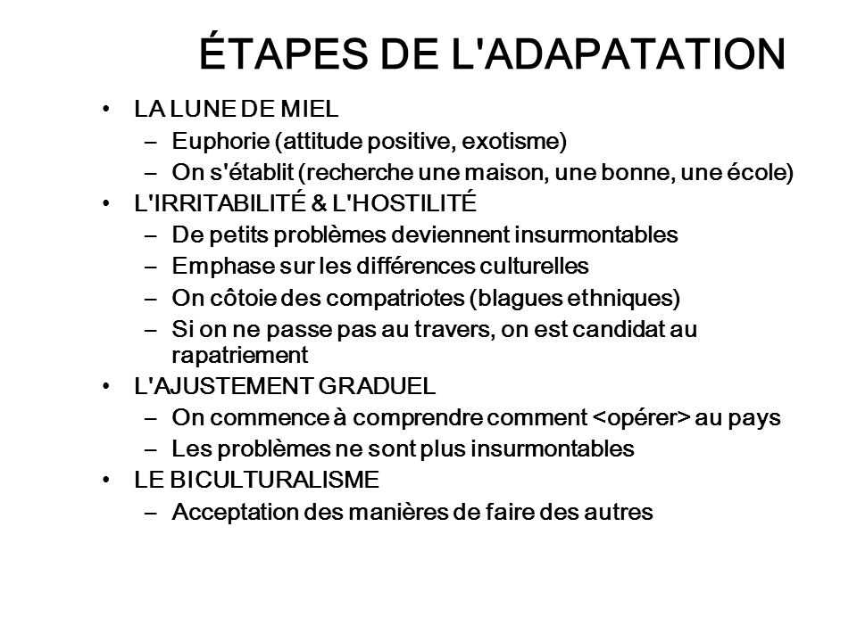 ÉTAPES DE L ADAPATATION