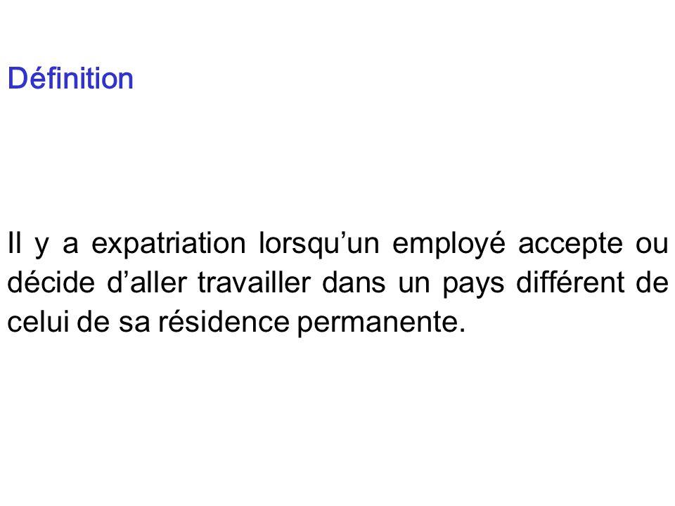 Définition Il y a expatriation lorsqu'un employé accepte ou décide d'aller travailler dans un pays différent de celui de sa résidence permanente.