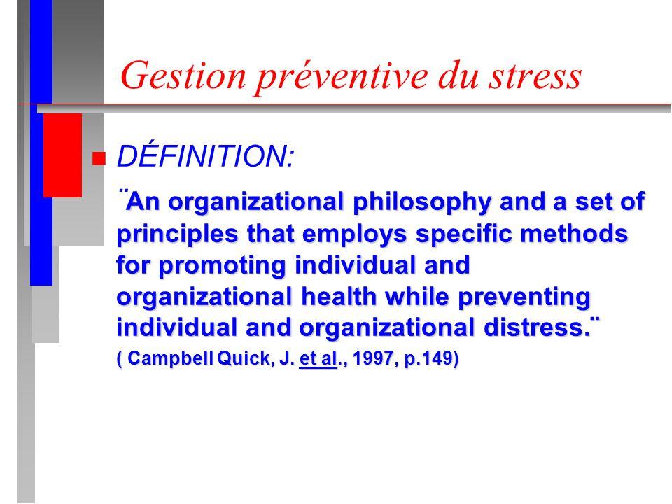 Gestion préventive du stress