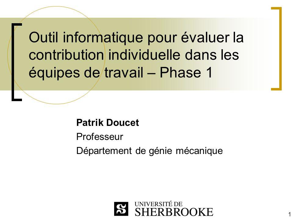 Patrik Doucet Professeur Département de génie mécanique