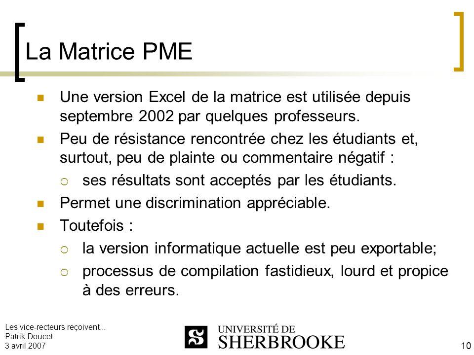 La Matrice PME Une version Excel de la matrice est utilisée depuis septembre 2002 par quelques professeurs.