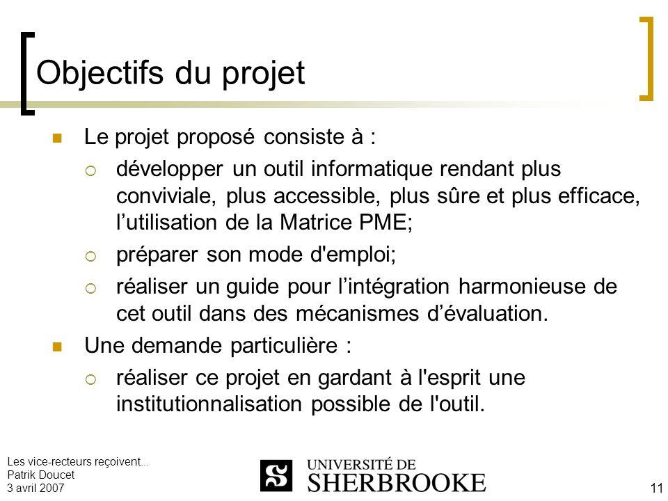Objectifs du projet Le projet proposé consiste à :