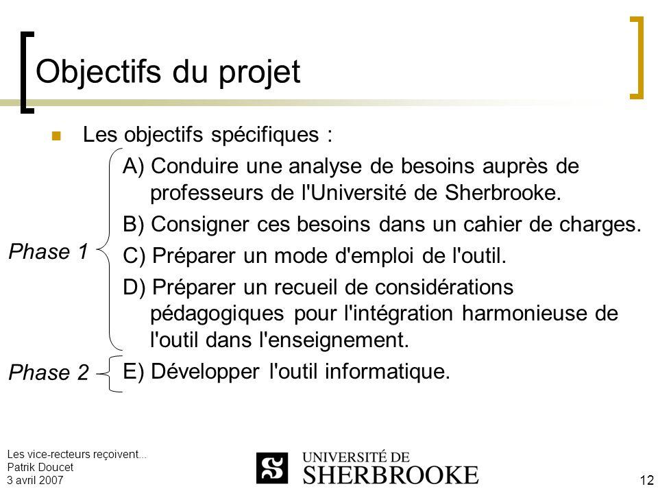 Objectifs du projet Les objectifs spécifiques :