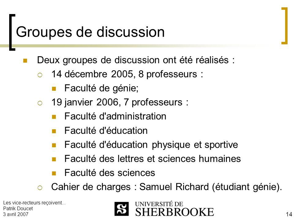Groupes de discussion Deux groupes de discussion ont été réalisés :