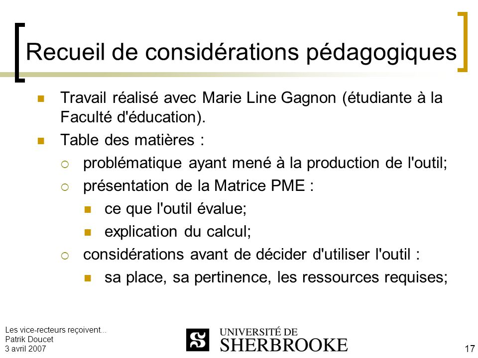 Recueil de considérations pédagogiques