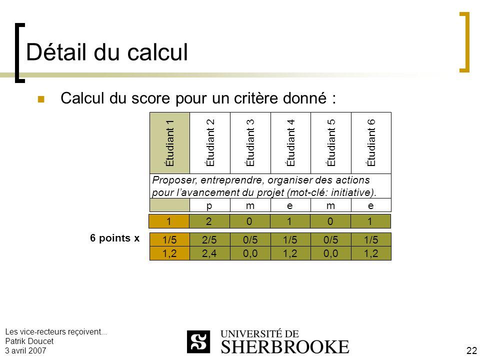 Détail du calcul Calcul du score pour un critère donné :