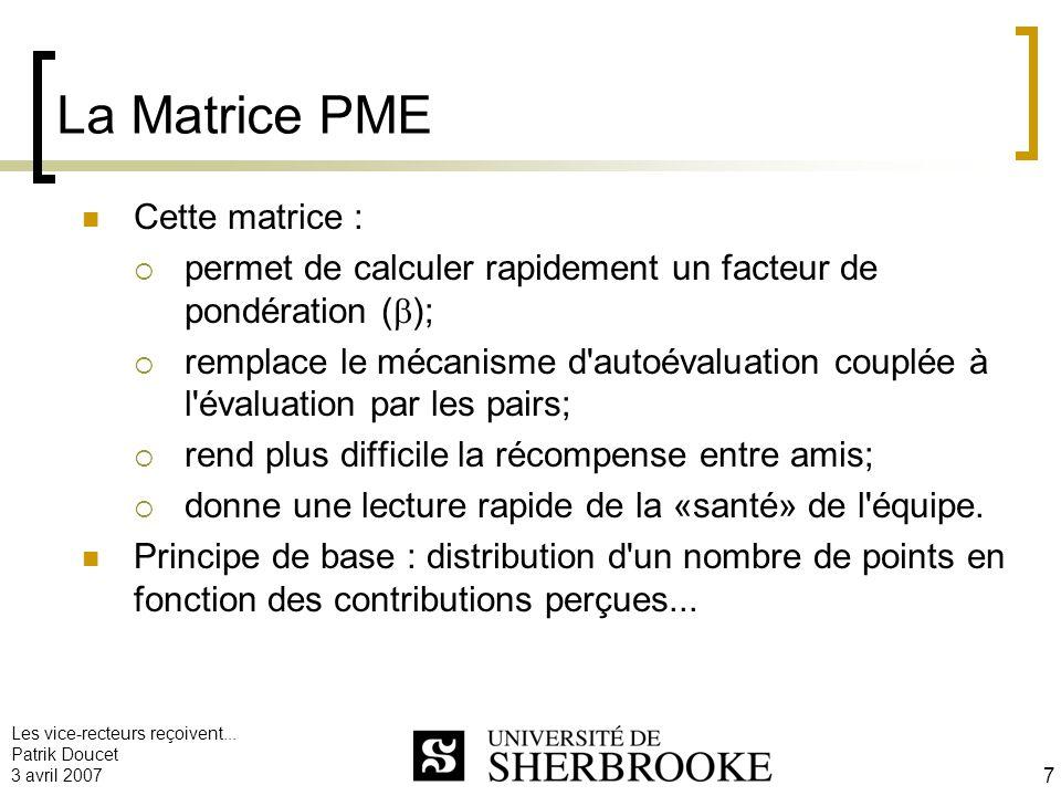 La Matrice PME Cette matrice :