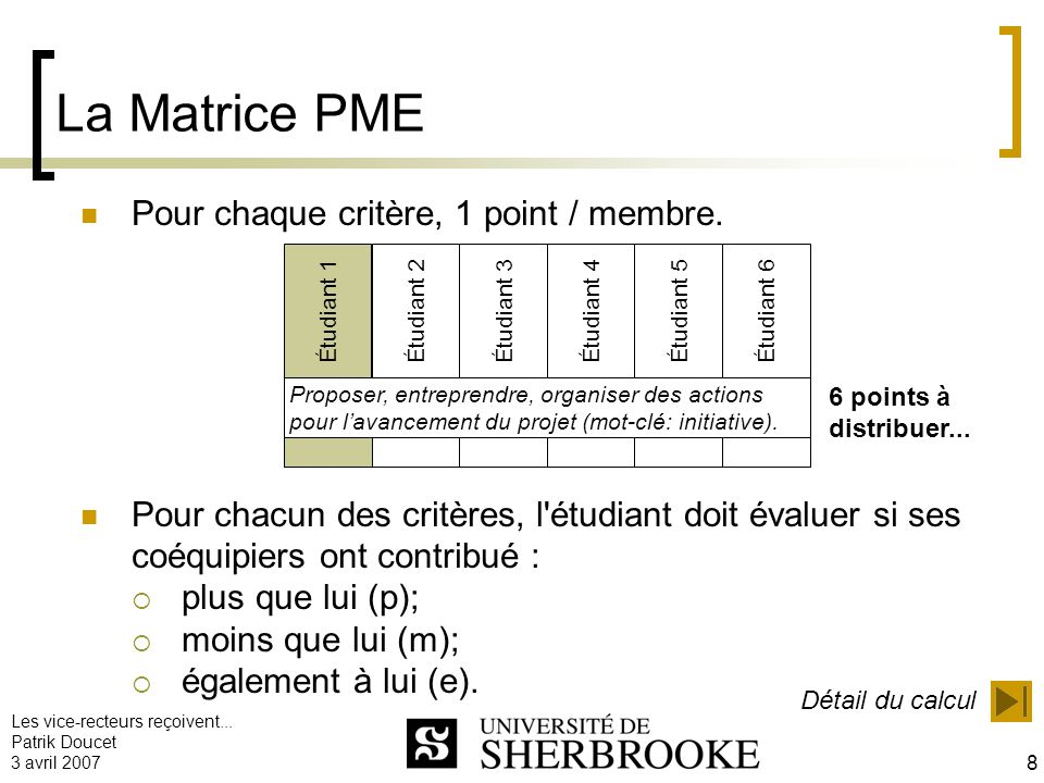 La Matrice PME Pour chaque critère, 1 point / membre.