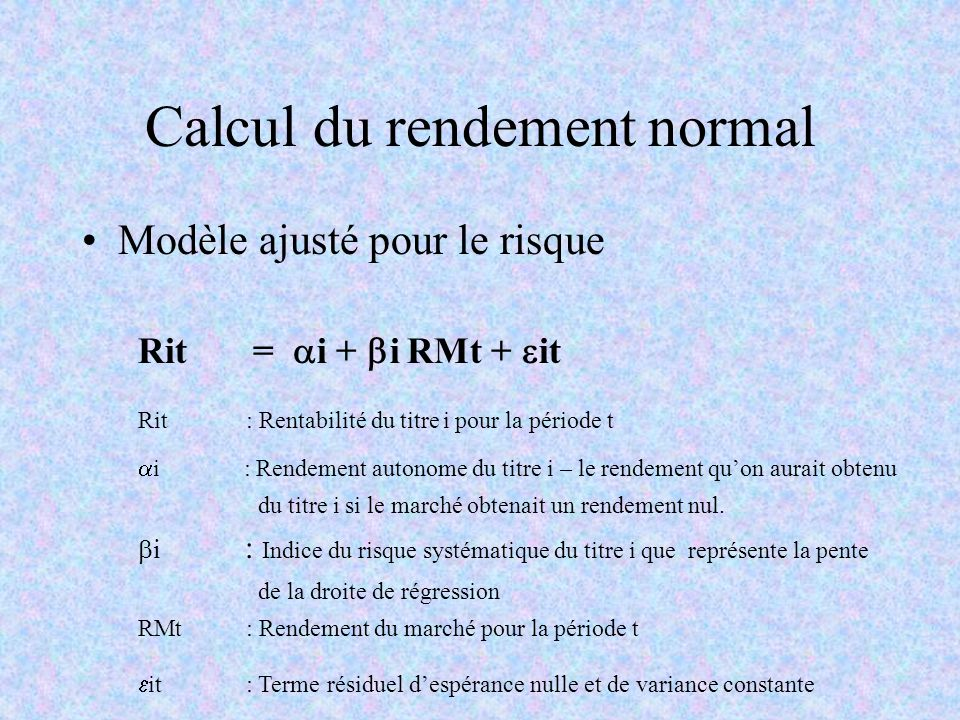 Calcul du rendement normal