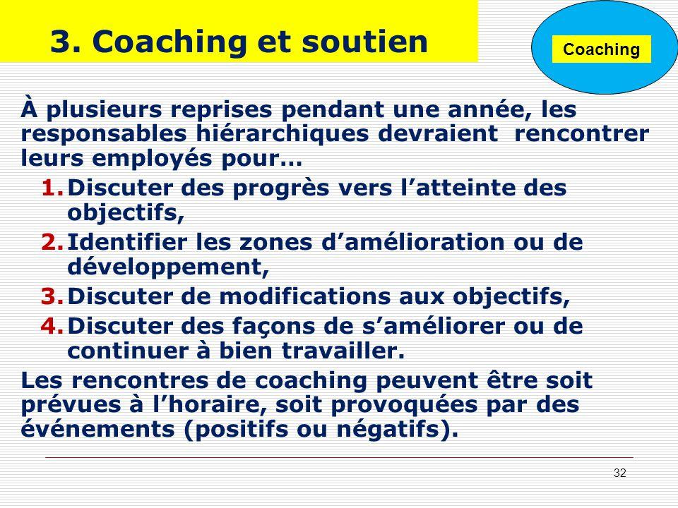 3. Coaching et soutien Coaching. À plusieurs reprises pendant une année, les responsables hiérarchiques devraient rencontrer leurs employés pour…