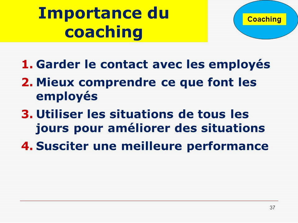 Importance du coaching