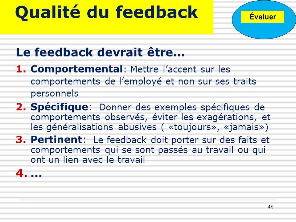 Qualité du feedback Le feedback devrait être… …
