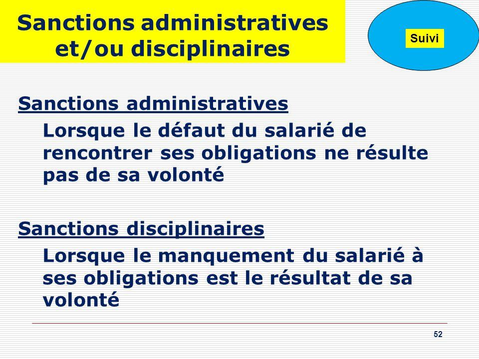 Sanctions administratives et/ou disciplinaires