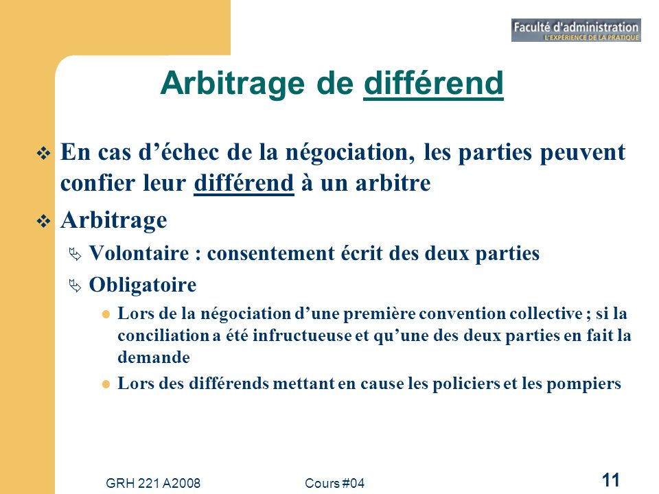 Arbitrage de différend
