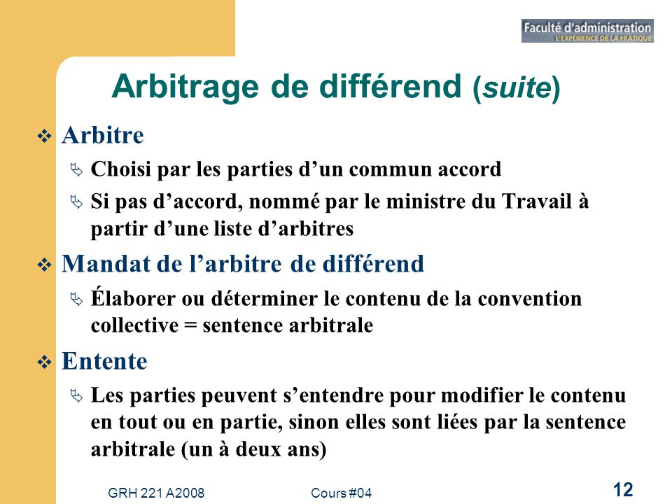 Arbitrage de différend (suite)