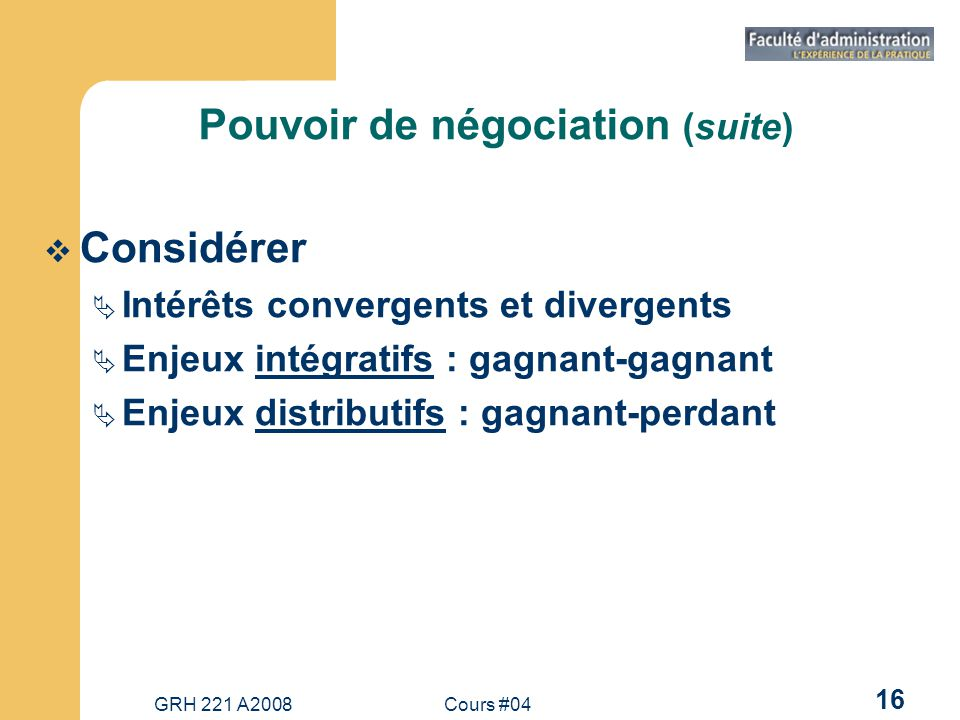 Pouvoir de négociation (suite)