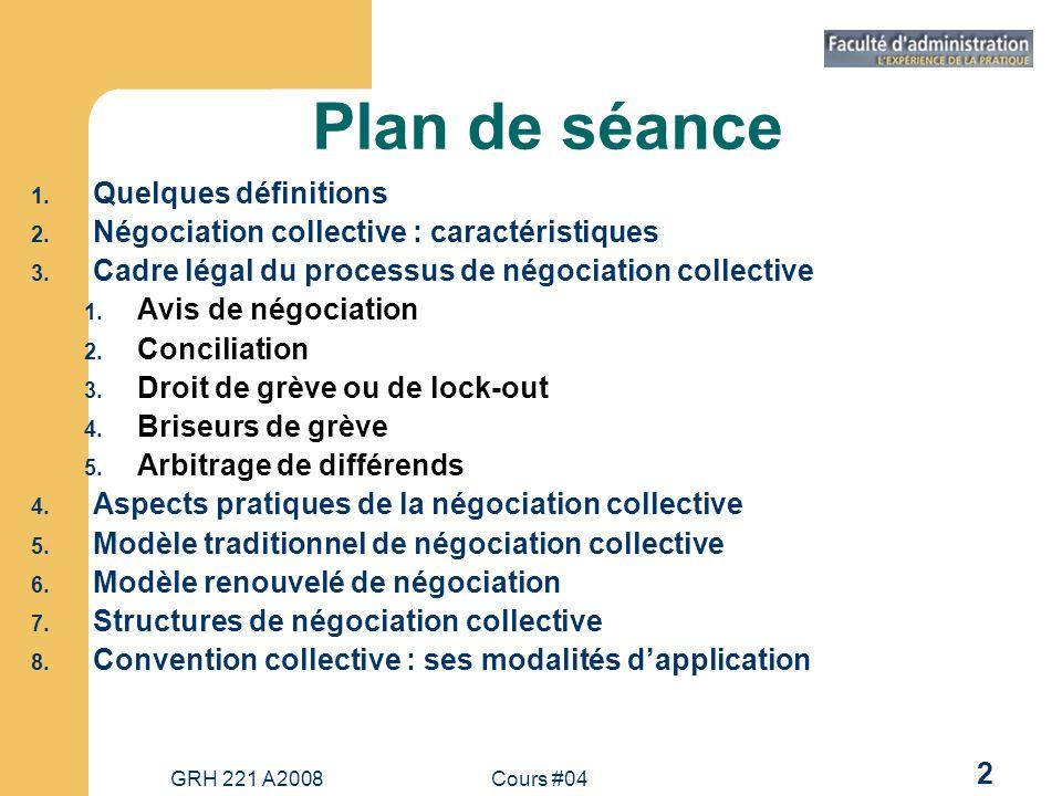 Plan de séance Quelques définitions
